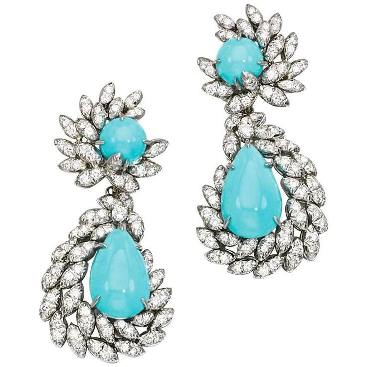 1970s Turquoise Diamond Platinum Ear Pendants | From a unique collection of vintage more earrings at https://www.1stdibs.com/jewelry/earrings/more-earrings/