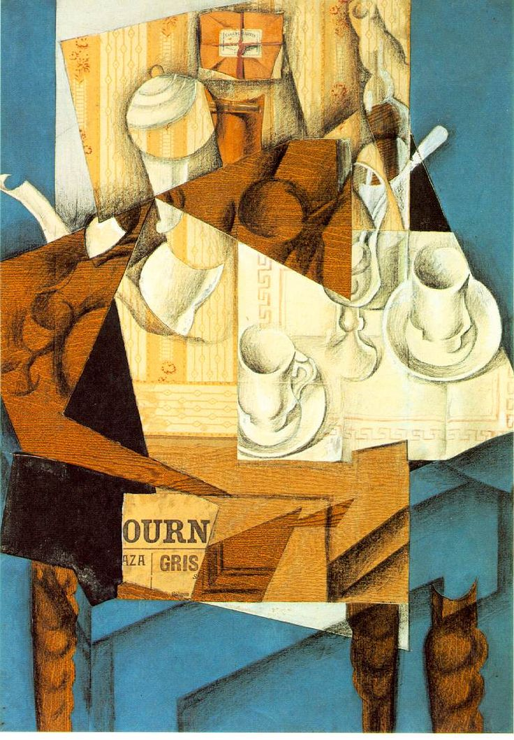 "Juan Gris, Breakfast, 1914 (cut and pasted papers, crayon, and oil on canvas, 31 7/8 x 23 1/2 inches; Museum of Modern Art, NYC). Clement Greenberg wrote that this collage succeeds better than Gris' more ""decorative"" collages, because it obviously depicts a still life: ""with one's eyes focused primaraly on the flat surface pattern, one finds the picture disorganized and congested, but when one shifts focus and views it as a conventional picture, it springs instantly into perfection."""