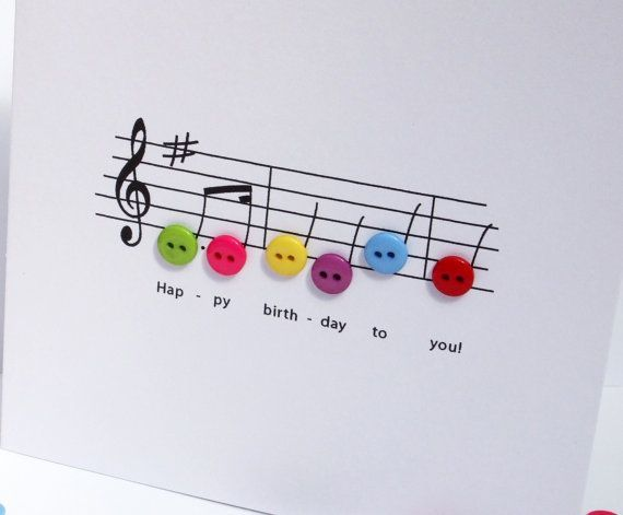 Happy Birthday Music Card - Birthday Card with Button Notes - Handmade Greeting Card This cleverly designed birthday card shows the music for the Happy Birthday song in tiny button notes!  Size: 135x135mm (5.3x5.3 in)  This birthday card is blank for you to add your personal message. It comes with a white envelope and in a protective cellophane bag. If you have any questions or requests about this, or any of my other items, please dont hesitate to get in touch.