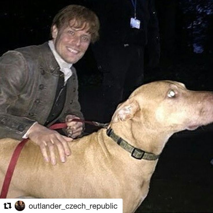 Aw Sam with a fans dog TYFS #Repost @outlander_czech_republic (@get_repost) ・・・ Repost @garry.beth by @media.repost: Can I just say OMG! My sister in law Fiona stumbled upon Jamie Fraser today while walking her dog! #outlander #jamiefraser #season4 #scotland #hunk #loveforsam