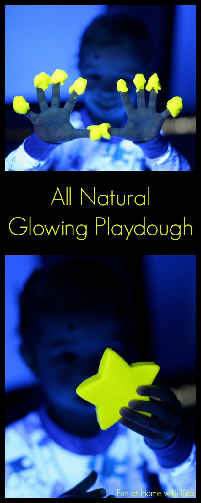 All Natural recipe for Glowing Playdough - made with ingredients you can pick up from your grocery store and it lasts for 4-6 months!  From Fun at Home with Kids
