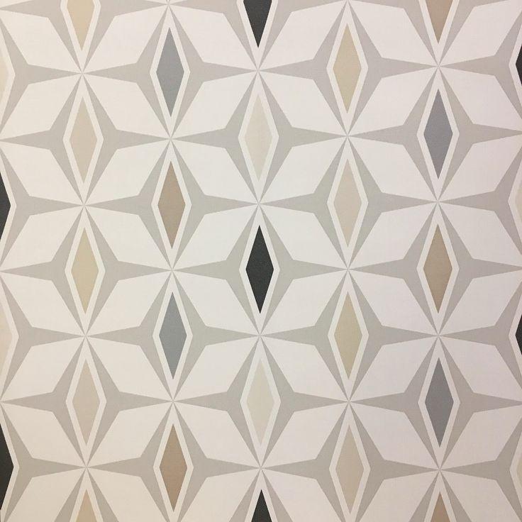 A geometric retro design with brown, greyand charcoaldiamonds on a cream textured background.