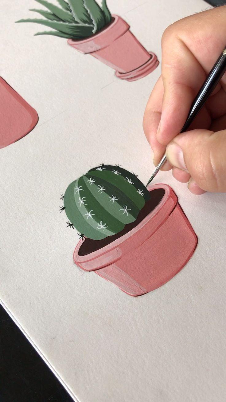 Gouache, die einen lil eingemachten Kaktus malt – …
