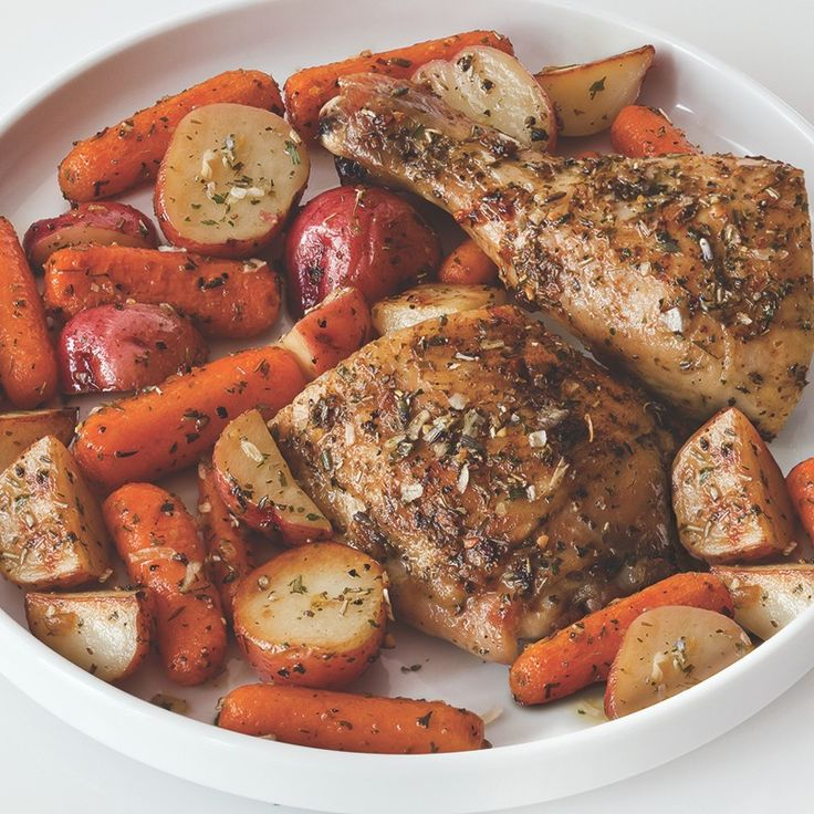 Aromatic Herbes de Provence seasons chicken, potatoes and carrots before roasting. This dish is so easy to prepare that you'll be adding it to your rotation of family dinner recipes.