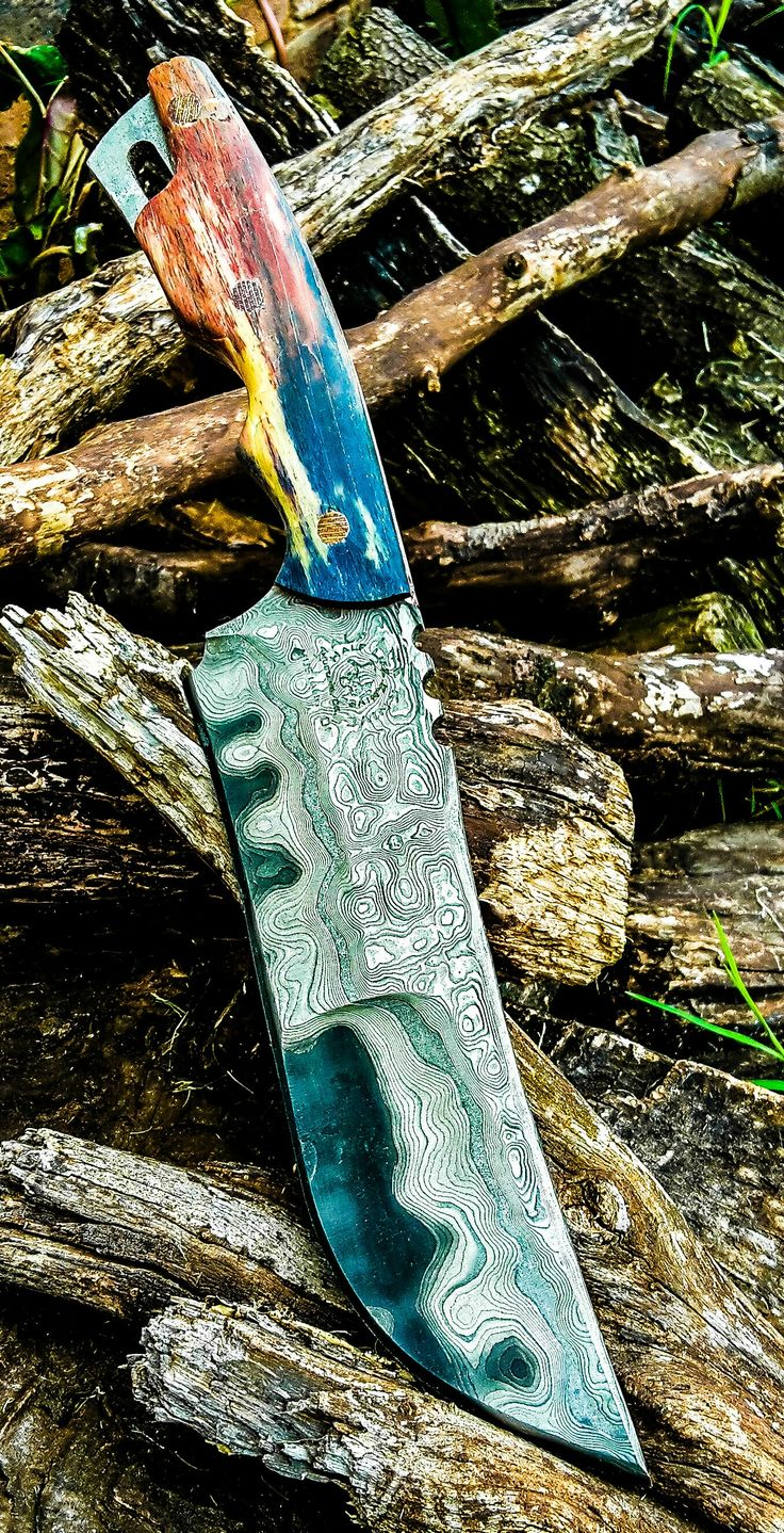 """13"""" duplex ground Battle Bowie, made from 304 stainless clad 1095 with giraffe bone scales..."""