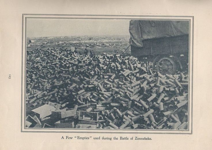 """Original 1917 Anzac Print-Antique Vintage """"A Few """"Empties"""" used during the Battl"""