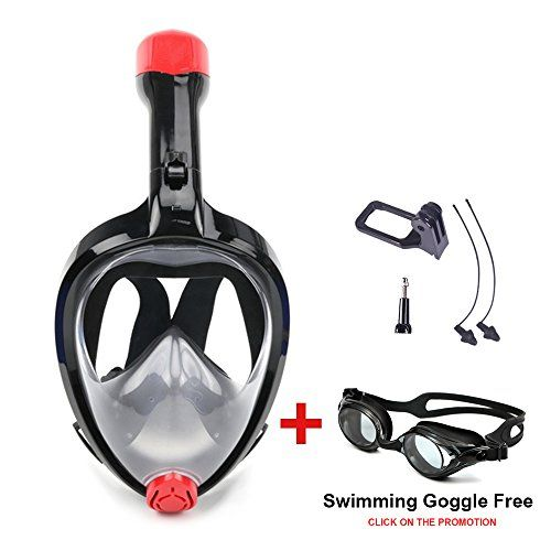 From 20.00 [new Design] Vilisun 180 Degree Full Face Scuba Diving Mask With Foldable Ventilation Tube And Removable Gopro Camera Mount Anti-fog And Anti-leak Technology Underwater Free Breathing Snorkeling Mask For Adult And Youth(black New S/m)