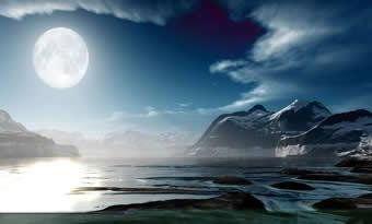 Já é quase dia e a lua brilha no lago. Ainda é primavera!