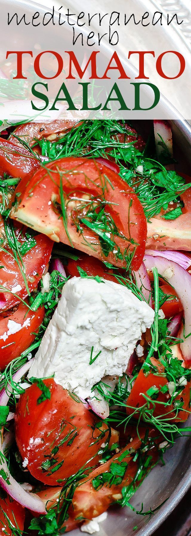 Mediterranean Fresh Herb Tomato Salad   The Mediterranean Dish. Tomatoes and red onions with fresh parsley and dill, doused in citrus and olive oil. Vegan. Gluten-free. Click the image for the recipe and visit http://TheMediterraneanDish.com for more healthy rec