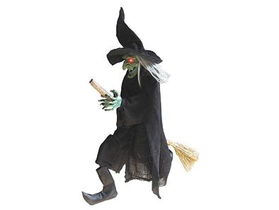 No Halloween night is complete without a witch! Hang this old hag high and she'll cast a bewitching spell on trick-or-treaters who come knocking, with her light-up eyes and witch's cackle!