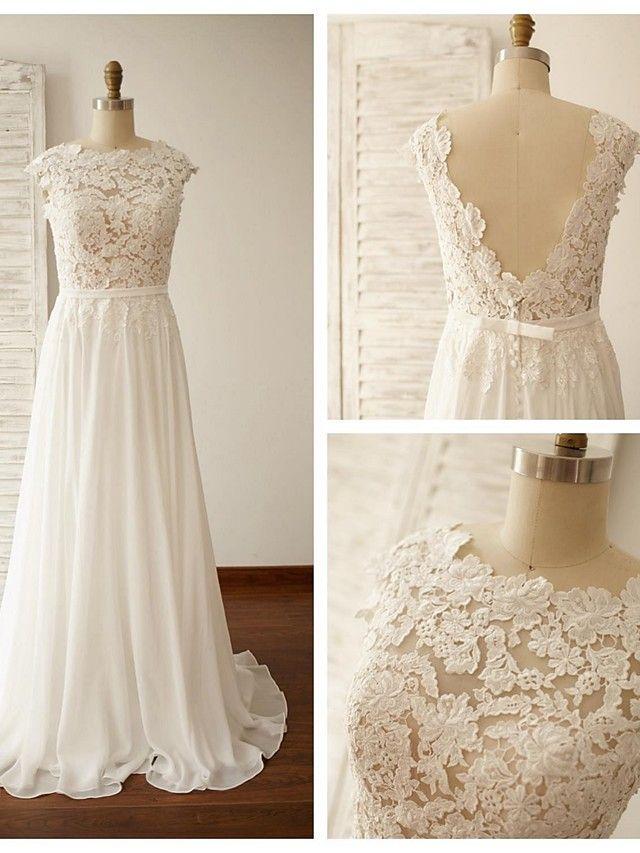 A-line Wedding Dress - Ivory Sweep/Brush Train Jewel Chiffon / Lace - USD $129.99