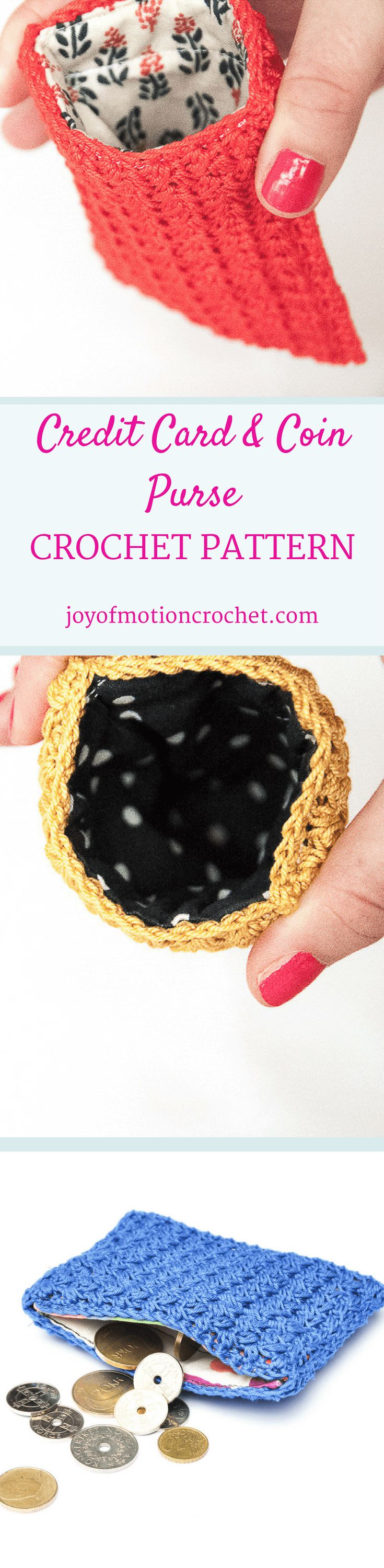 The credit card purse - crochet pattern. Crochet pattern for a lovely purse. Skill level intermediate. You will need yarn, thread, fabric, a crochet hook. Perfect unique Christmas gift for a friend | Joy of Motion Design | purse crochet pattern | credit card pouch crochet pattern | credit card purse lined with fabric | metal flex frame purse pattern. Click to purchase or repin to save it forever. via @http://pinterest.com/joyofmotion/