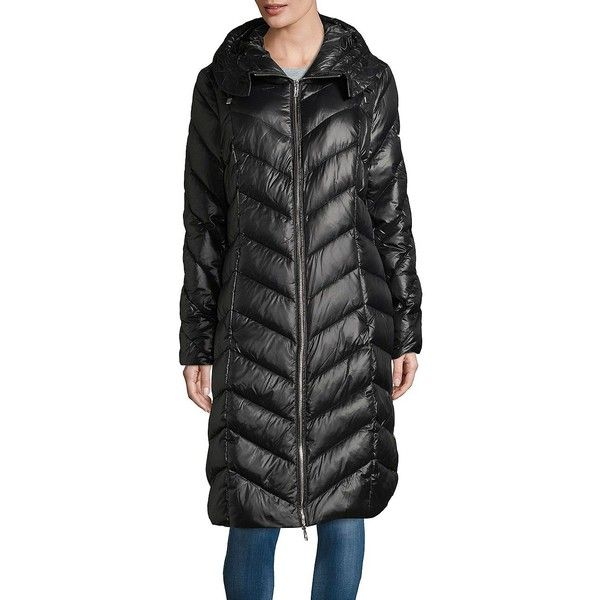 Karl Lagerfeld Paris Women S Down Filled Quilted Coat 170 Liked On Polyvore Featuring Outerwear Coats Black Down Fe Clothes Design Feather Jacket Women