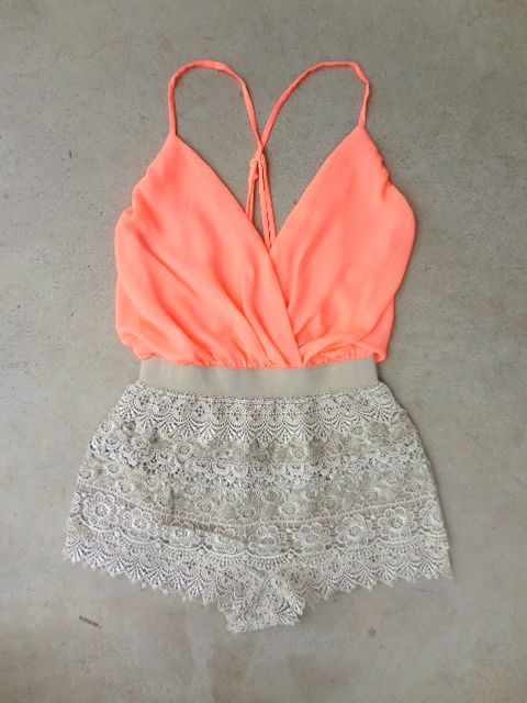 Peach Lace Short Romper.. all its missing is a tan and some white wedges.