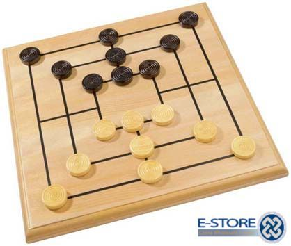 Wooden Nine Men's Morris Game