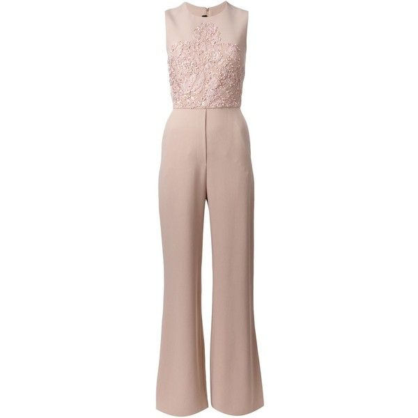 Elie Saab Embroidered Sleeveless Jumpsuit ($6,416) ❤ liked on Polyvore featuring jumpsuits, jumpsuit, combinaison, dresses, elie saab, enteritos, brown jumpsuit, silk jumpsuit, jump suit and sleeveless jumpsuit