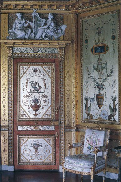 Silver boudoir of Marie Antoinette  decorated  by the Rousseau brothers in 1786  at Fontainebleau