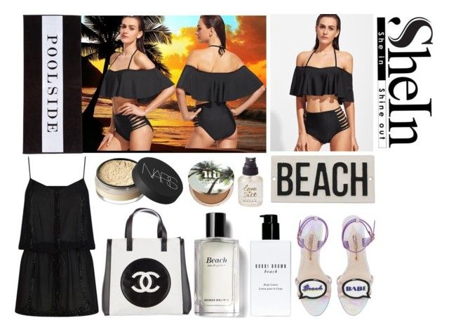 """Black Halter Ruffle Ladder Cutout Bikini Set"" by igiulia ❤ liked on Polyvore featuring Olivine, Urban Decay, NARS Cosmetics, Chanel, ELIZABETH HURLEY beach, Chance, HomArt, Bobbi Brown Cosmetics and Sophia Webster"