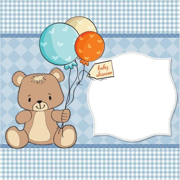 Cartão do chuveiro de bebê com urso de peluche Vetor grátis