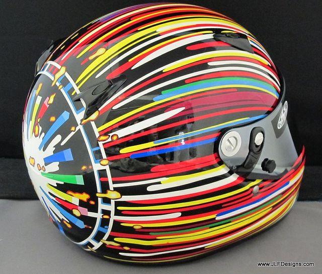 Custom helmet by JLF Designs by IZOD IndyCar Series, Koons BMW Art Car Graphics