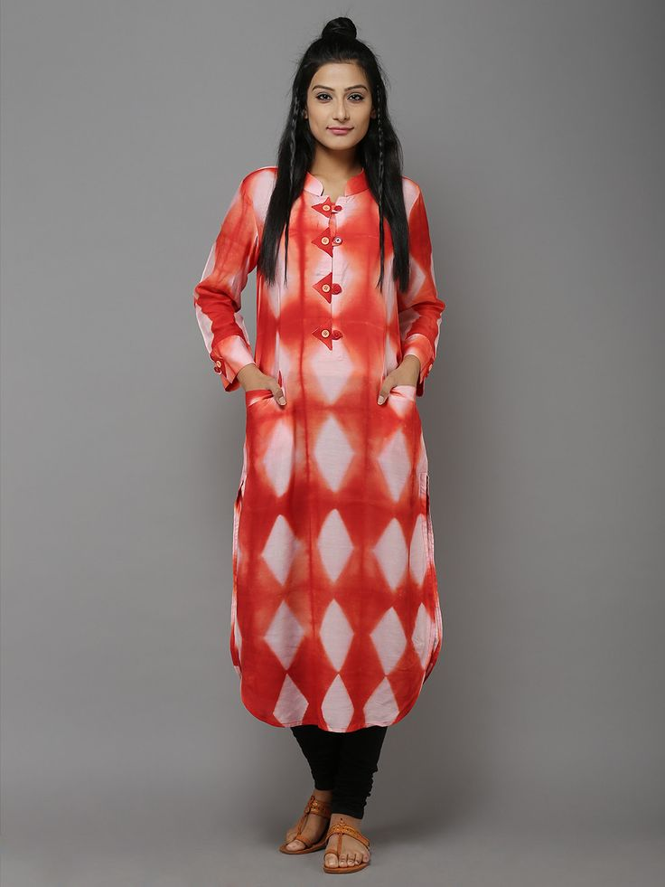 "Description: A beautifully emblished kurti with front pockets. It can be paired with churidar or salwar. Length of the garment is 48"". Size Chart  - These are g"