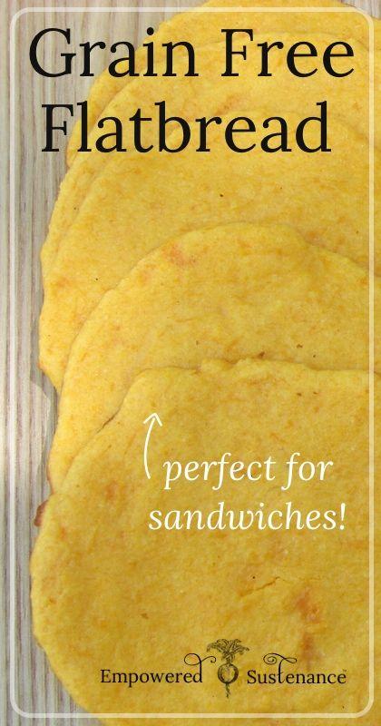 Grain Free Butternut (or Sweet Potato) Flatbread, perfect for sandwiches or mini pizza crusts!