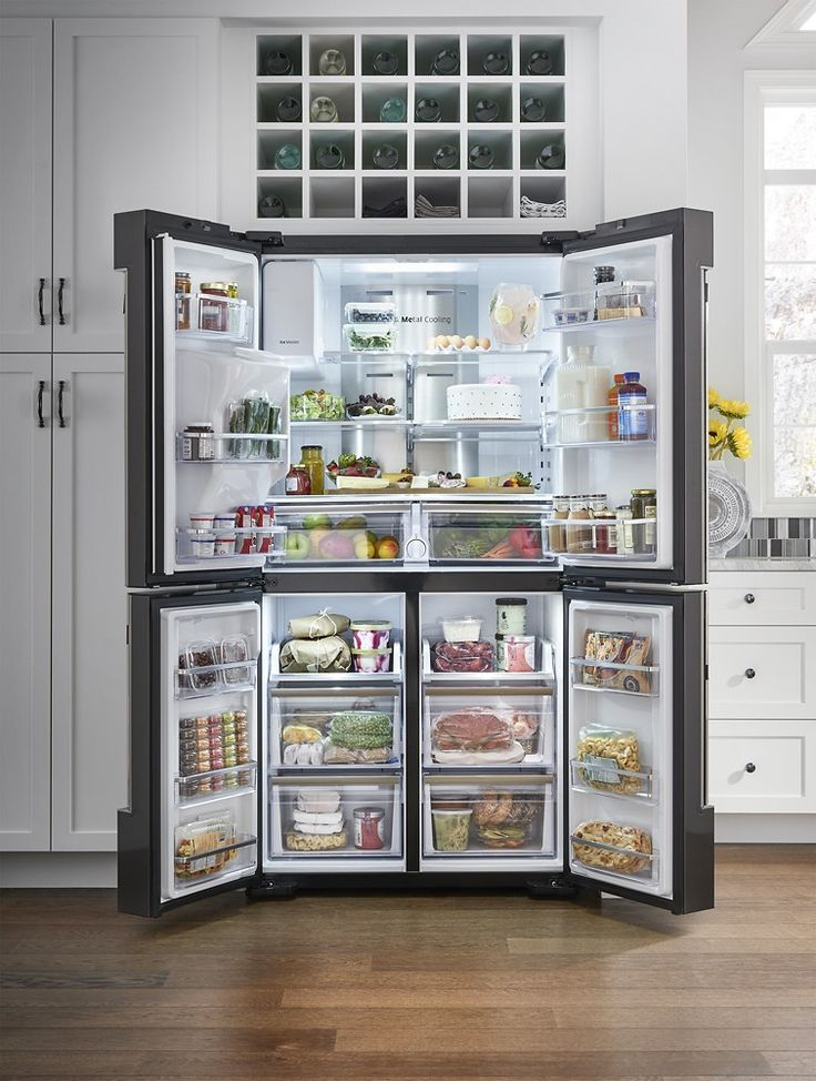 Samsung - Family Hub 22.08 Cu. Ft. Counter-Depth 4-Door Flex Smart French Door Refrigerator With Geek Squad White Glove Experience - Black Stainless Steel - AlternateView15 Zoom