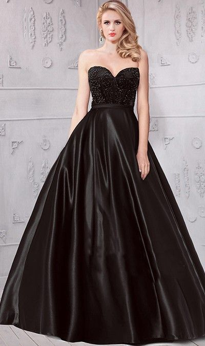 133c51fc4e7 Lovely Ball Gown Strapless Sweetheart Black Satin Beaded Prom Dress ...