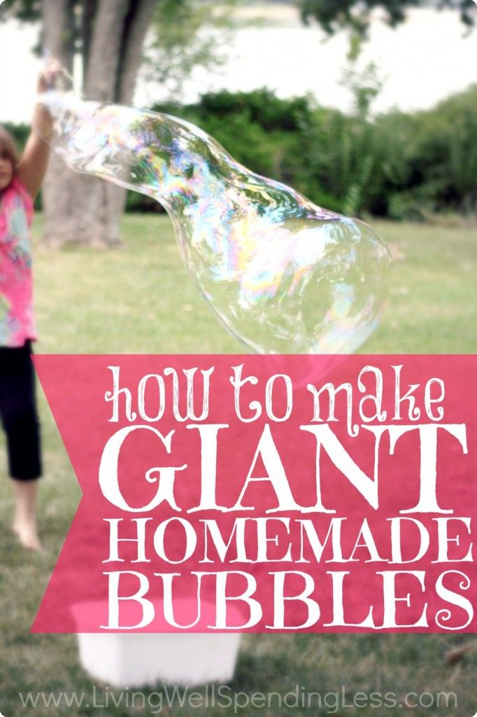 How to Make Giant Homemade Bubbles   With stuff you actually have on hand!  cornstarch,  baking powder,  corn syrup....
