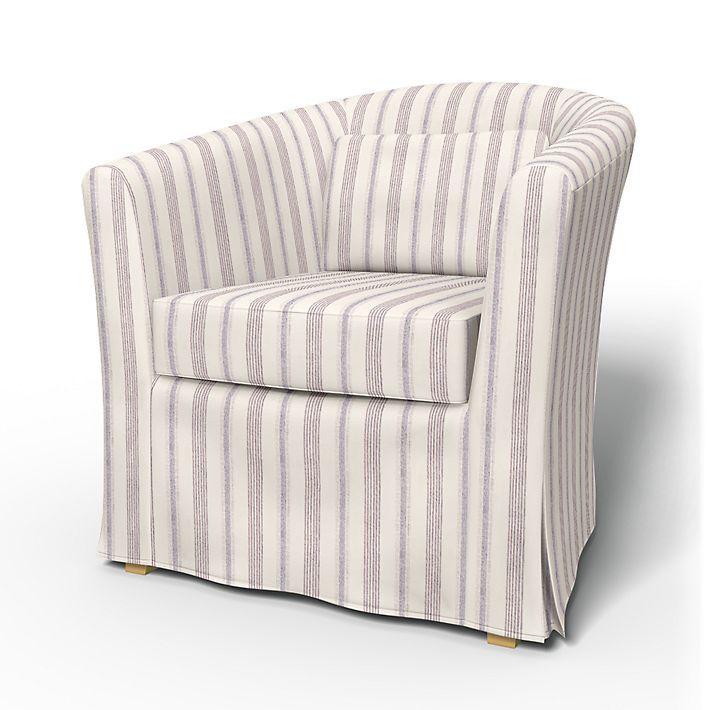 Tullsta, Armchair Covers, Armchair, Regular Fit using the fabric Bolster Stripe Egg Shell Blue