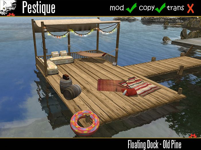building a floating dock | Floating Dock - Old Pine  *clever! with the removable canopy and hammock. Love this.