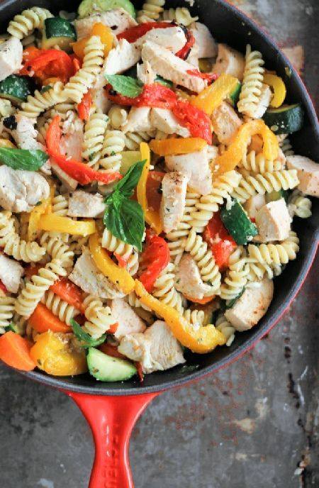 Low FODMAP Recipe and Gluten Free Recipe - Chicken and roast vegetable pasta http://www.ibs-health.com/low_fodmap_chicken_roast_vegetable_pasta.html