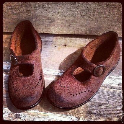 Валяные туфли Rise & Shine - коричневый,Валяние,туфли ручной работы,кожаная подошва