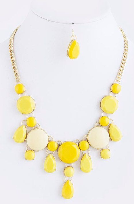 SALE  Yellow Bubble Necklace with matching earrings  by GraysRoom