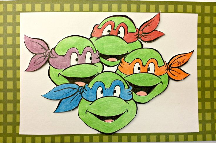 20.7 x 13 cm illustration of Teenage Mutant Ninja Turtles by AnniCrafting on Etsy