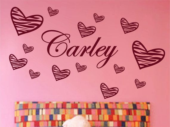 Personalized Name and 14 Zebra Striped Hearts Vinyl Wall Decal Stickers Decor