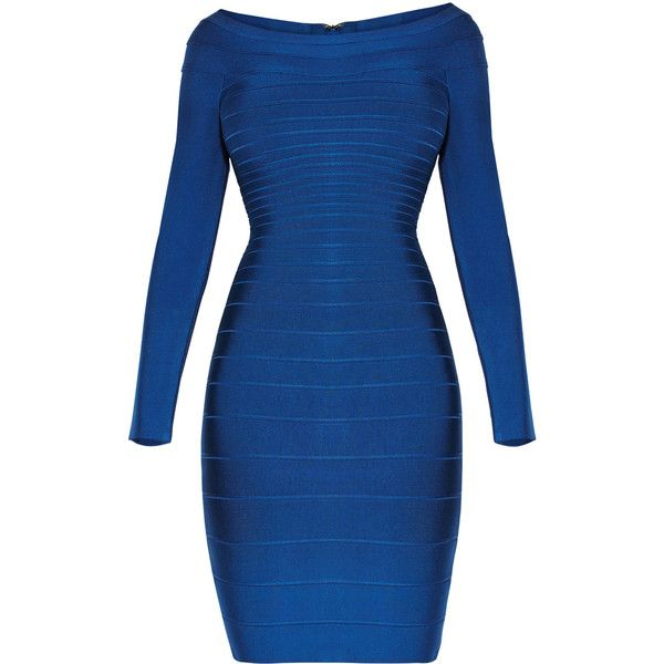 Herve Leger Candice Off-The-Shoulder Bandage Dress (3.715 BRL) ❤ liked on Polyvore featuring dresses, gowns, royal blue dress, long sleeve ball gowns, blue gown, bandage dress and long sleeve evening dresses