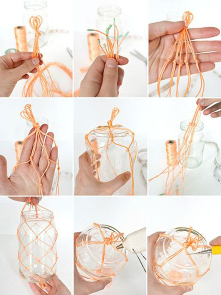 как изготовить кашпо из шнура фото мк для работы