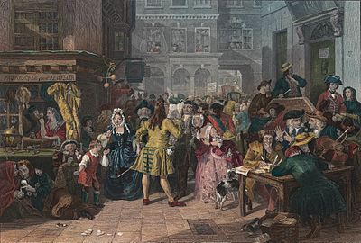 """Hogarthian image of the 1720 """"South Sea Bubble"""" from the mid-19th century, by Edward Matthew Ward,"""