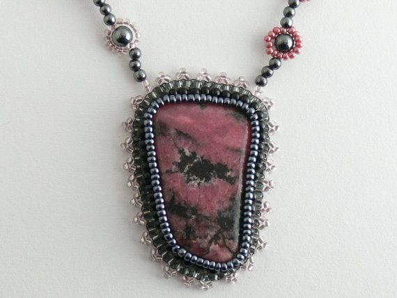 Rhodenite necklace with hematite and glass beads. by Evesbeads, $180.00