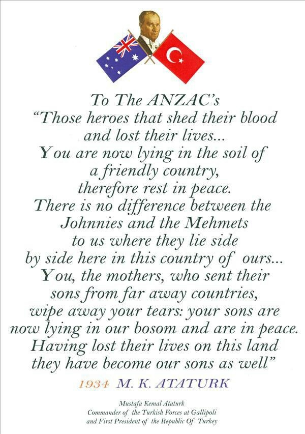 Mustafa Ataturk's famous letter to honour Anzac diggers who fought at Gallipoli.