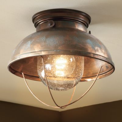 Cabela's Grand River Lodge™ Fisherman's Ceiling Light Bring the feel of a maritime port into any room of your home or cabin with the nautical appeal of this quaint-looking lamp. Old-World charm with an authentic antique look. Mounting hardware included. Hard-wire-licensed electrician recommended for installation. Uses a 100-watt bulb