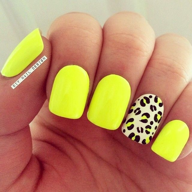 neon #yellow nails with nude #leopard accent nail | animal print #nailart