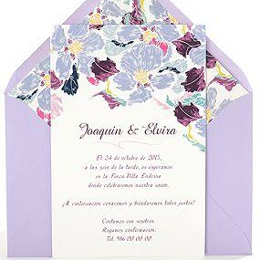 Invitación de boda original y elegante con acuarela de flores, sobre lila: Katerina