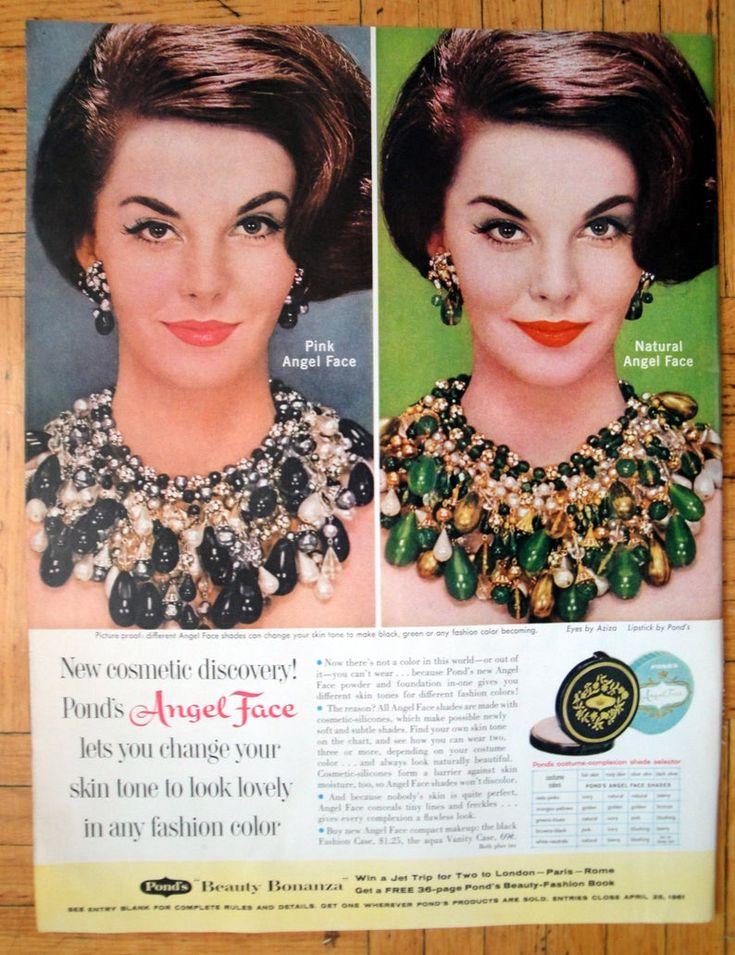 1961 Angel Face Compact Makeup Black + Aqua CaseOriginal
