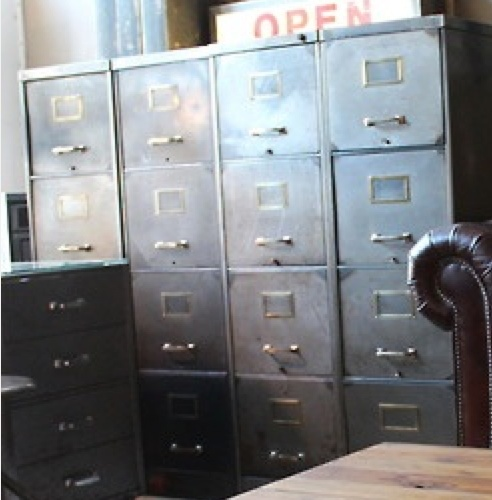 Also like these steel cabinets for storage, will go nicely with the wood. Can be painted.