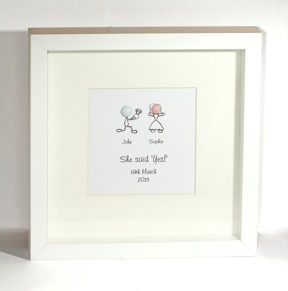 Personalised Engagement Framed present Capture the moment - Stick person personalised 'she said yes' frame - Modern Engagement present