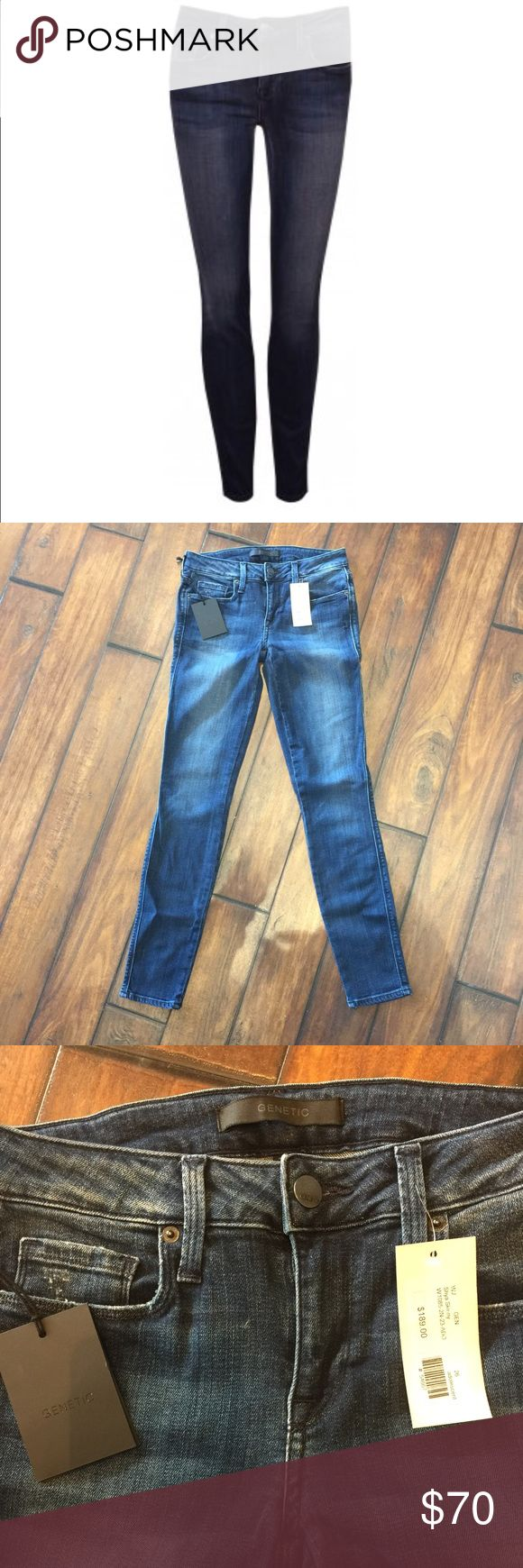 """Genetic Jeans Genetic The Shya Skinny in Adolescent Blue is a super soft stretchy skinny! This classic 5-pocket versions looks like a structured jean but has the comfort and feel of a legging!  Rise: 8"""" Inseam: 30"""" Leg opening: 10"""" Fabric: 65% cotton, 33% lyocell, 2% elastic. Care instructions: machine wash cold. Ladies... these jeans are AMAZING!!! Genetic Denim Jeans Skinny"""