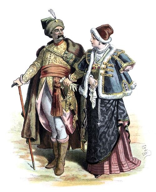 Poland, costumes of the nobility. Early XVII century.  From Galería del arte decorativo (Gallery of Decorative Art) vol. 2, collective work, Barcelona,  1890.  (Source: Universitat Autonoma de Barcelona)