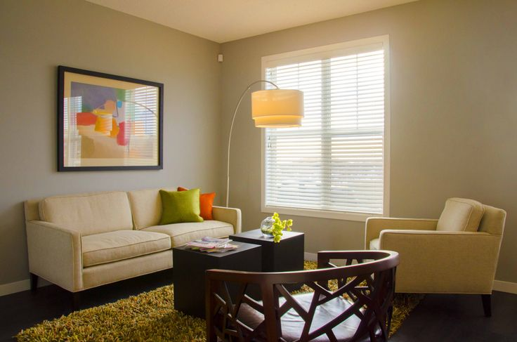 The Living Room of the Morrison Communities home model the Arrival in the community of Sonoma at Sage Hill in Calgary.